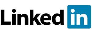 Blue, black, and white LinkedIn logo on the Archangel Law Group website